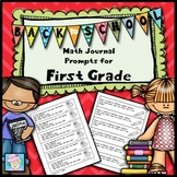 First Grade Math Journal Prompts:  Back to School Version