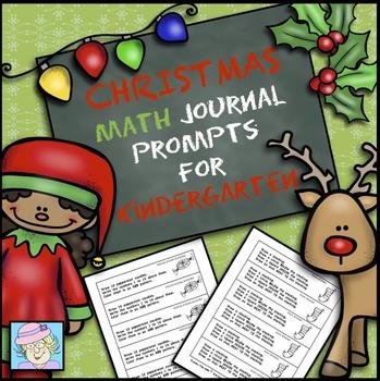 Kindergarten Math Journal Prompts--Christmas/Holiday Version