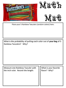 Math Mat Review Activity:  Rainbow Twizzlers