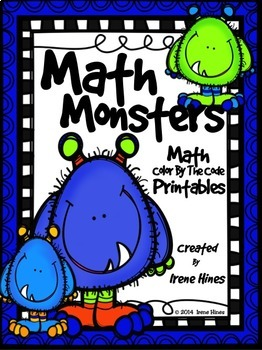 Math Monsters ~ Addition & Subtraction With Regrouping Color By The Code Puzzles