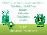 Math Operation Task Cards with QR Codes - Little Green Monsters