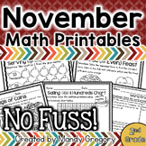 Math Printables for November (No Fuss!)