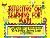 Math -Reflecting on Learning{Math Reflections for Grade 2-3}