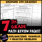Math Review Packet for 7th - 8th Grades