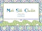 Math Skills Checklist The Teacher's Work Room