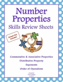 Math Skills Review Sheets: Number Properties