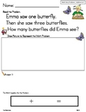 Math Story Problems.. Add to 5 Insect Unit ** Read, Draw,