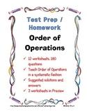 Math Test Prep Homework / Order of Operations