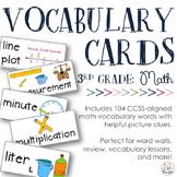 Math Vocabulary Cards {Aligned to 3rd Grade CCSS}