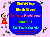 Word Multi-Step Problems Task Cards: 36 Short Math Funny S