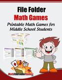 MathFileFolderGames: 42 Printable Math Games for Middle Sc