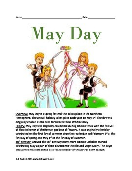 May Day - Holiday Spring Informational Article Facts History Questions Vocab