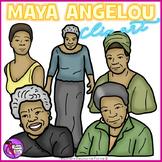 Maya Angelou clip art - color and black line