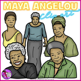 Maya Angelou clip art - color and black line