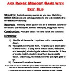 Mean Median Mode Range Vocabulary Memory Game with Exit Slip