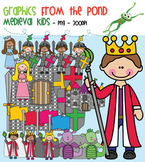 Medieval Kids - King Queen Kinight Princess Castle Dragon Clipart