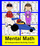 Mental Math Center Activity-Mental Math Cards-Race Car Theme