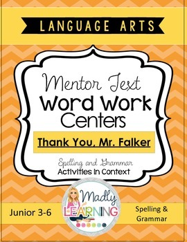 Language Arts - Mentor Text Word Work Centers Shortcut Image Thank You Mr Falker