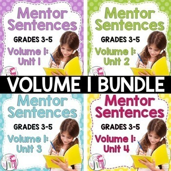 Mentor Sentence Units (VOLUME 1) Bundle (Grades 3-5): 40 Weeks!