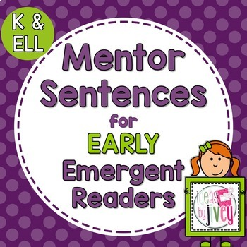 Kindergarten Mentor Sentences with Ideas by Jivey.