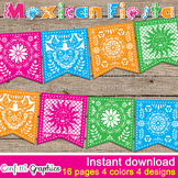 Mexican Fiesta Banner Bunting Papel Picado Party Pennant D