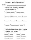 Mid Year Math Assessment Kindergarten - K.CC.1,3, K&1.OA.1