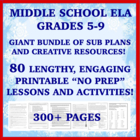 "Middle School ELA ""NO PREP"" Printables: Emergency Sub Plan"