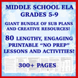 "Middle School ELA ""NO PREP"" Printables: Emergency Sub Plan"