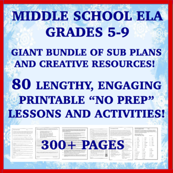 "Middle School ELA ""NO PREP"" Printables: Emergency Sub Plans for Two Weeks+!!"
