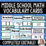 Middle School Math Vocabulary Cards