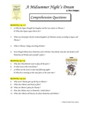 Midsummer Night's Dream ENGLISH - COMPREHENSION questions