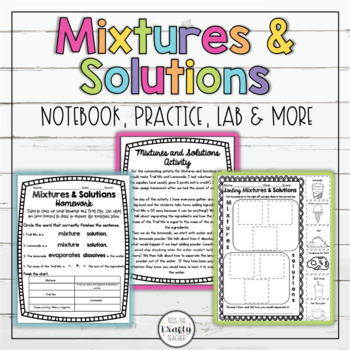 Science Mixtures and Solutions Activity Homework