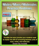 Free Mole Practice Worksheet: Converting between mass, mol