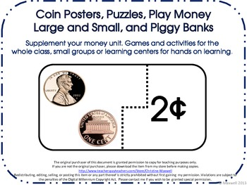 Money Coin Posters, Puzzles, Play Money  Large and Small,