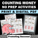 Money Worksheets 2nd Grade Math Dollars Coins No Prep Comm