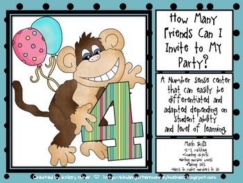Monkey Birthday Number Center
