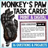 """""""Monkey's Paw""""  by W.W. Jacobs Task Cards"""