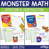 Monster Math - Addition & Subtraction Timed Tests BUNDLE