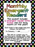Monthly Emergent Readers Preschool Kindergarten Months of