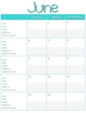 Monthly Teacher Calendar
