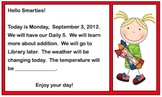 Morning Meeting Message Template – 5 Slides, Mon.-Fri.  -