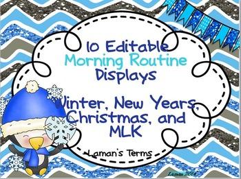 Morning Routine 10 Editable Displays: Winter, Christmas, N