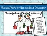 Kindergarten Morning Work-December (CCSS aligned)