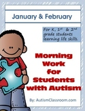 Morning Work for Students with Autism (January & February)