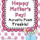 Mother's Day Acrostic Poem ~ Freebie!