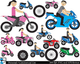 Motorcycle, ATV and scooter Digital Clip Art Graphics 48 i