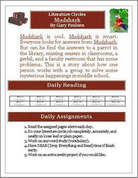 Mudshark Literature Circle Activity, Vocabulary & Projects