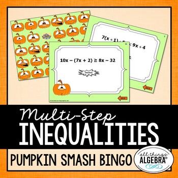 "Multi-Step Inequalities - ""Pumpkin Smash"" Bingo Game!"