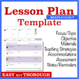 Lesson Planning Template - Multi-Subject (Graphic Organizer)