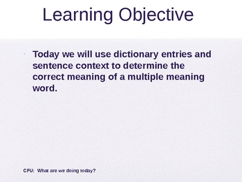 Multiple Meaning Words Using Dictionary Entries RW 1.7 Powerpoint